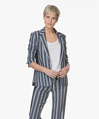 Drykorn Belsize Striped Blazer - Dark Blue/Off-white