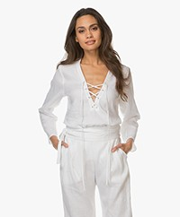 Matin Studio Lace-up Linen Blouse - White