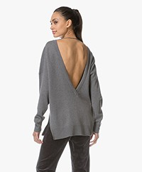 IRO Durson Sweater with V-neck at Back - Stone Grey
