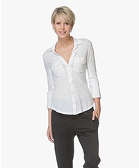 James Perse Contrast Panel Jersey Blouse - Wit