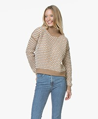 HUGO Suzan Chunky Knit Turtleneck Sweater - Beige/Off-white