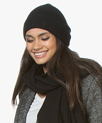 Repeat Cashmere Rib Knitted Beanie - Black