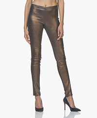 Mes Demoiselles Esther Leather Leggings - Gold