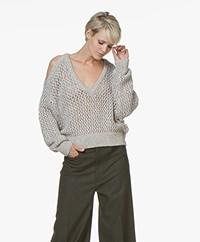 IRO Like Lattice Knit Sweater - Mixed Taupe