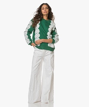 FWSS Sara Oversized Sweater with Lace - Evergreen