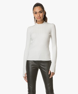 HUGO Suala Rib Knit Turtleneck - Natural