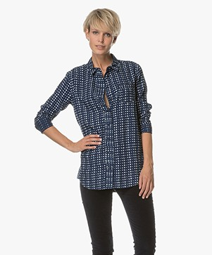 Denham Adventure Print Blouse in Tencel - Indigo
