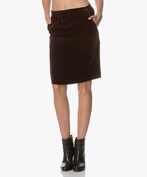 Drykorn Janice Velvet Knee-length Skirt - Burgundy