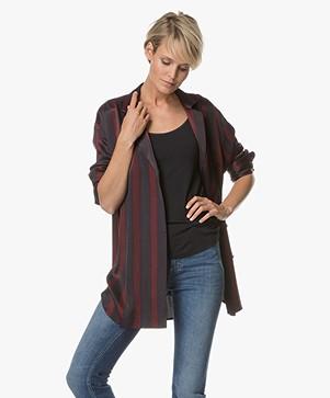 By Malene Birger Viscose Shirt with Striped Design - Wine/Dark Blue