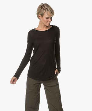 Repeat Modal and Cashmere Long Sleeve - Black