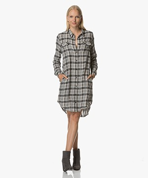 Project AJ117 Heloisa Checkered Shirt Dress - Grey