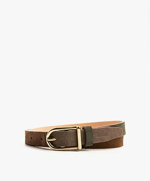 Closed Suede Mutli Color Belt - Brown/Green