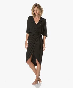 Calvin Klein Kimono Bathrobe in Modal Jersey - Black