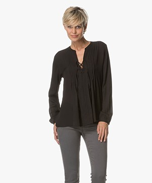 Repeat Silk Blouse - Black