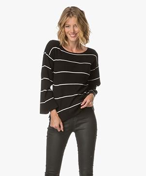 Plein Publique La Reine Striped Boat Neck Pullover - Black/Ecru