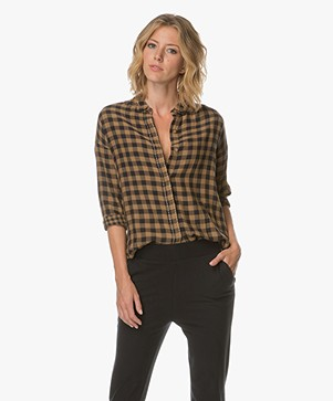 Indi & Cold Double Weaved Plaid Shirt - Navy