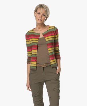 Kyra & Ko Nola Short Striped Cardigan - Army Green