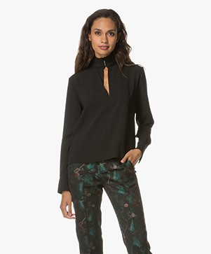 By Malene Birger Alimara Keyhole Blouse - Black