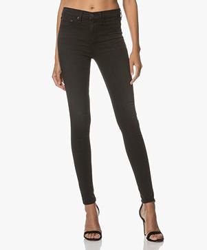 Rag & Bone High Rise Skinny Jeans - Washed Black