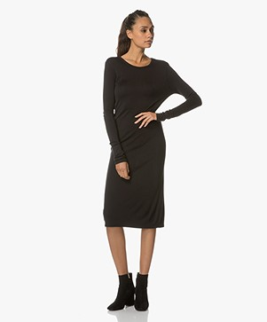 Majestic Jersey Dress with Cut-out - Black
