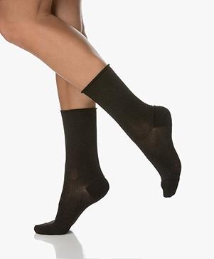 Dear Denier Malene Sokken met Lurex Details - Zwart