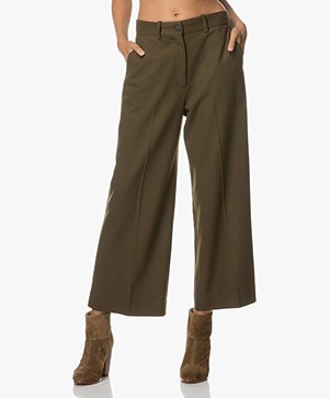 Rag & Bone Crane Wide-leg Cropped Pants - Olive