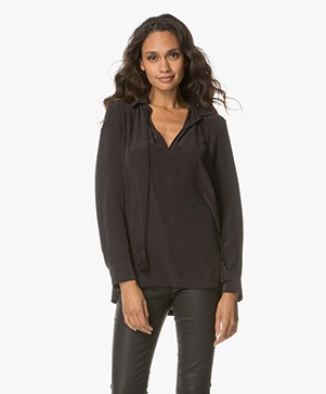 Equipment Bristol Zijden Splithals Blouse - Zwart