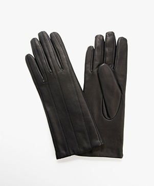 Filippa K Stitching Leather Gloves - Navy