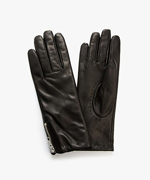 Filippa K Zip Leather Gloves - Black