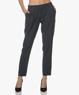 BY-BAR Striped Crepe Pants - Navy