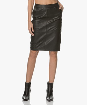 BY-BAR Leather Pencil Skirt - Black