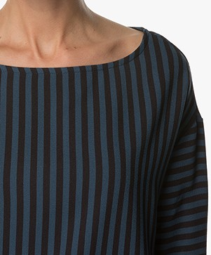 BY-BAR Stripe Crepe Blouse - Navy