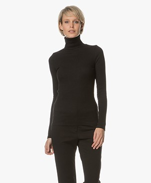 Friday's Project Ribbed Turtleneck in Cotton - Black
