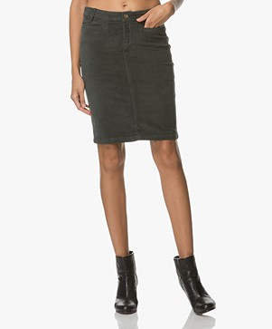 BY-BAR Velvet Pencil Skirt - Dark Green
