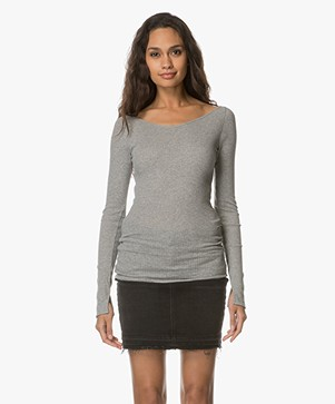 Filippa K Open Neck Rib Top - Grey Melange