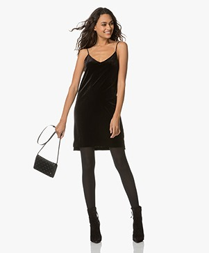 Rag & Bone / Jean Amber Velvet Spaghetti Strap Dress - Black