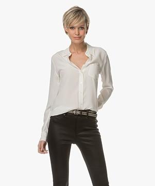Equipment Brett Washed-silk Shirt - Nature White