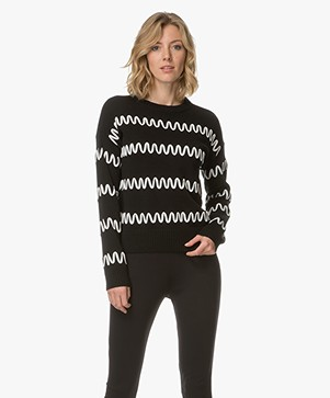 HUGO Sollina Knitted Pullover with Pattern - Black/White
