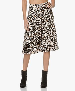 FWSS Heidi Leopard Pleated Skirt - Cadmium Yellow