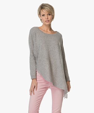 Repeat Cashmere Asymmetric Pullover - Light Grey