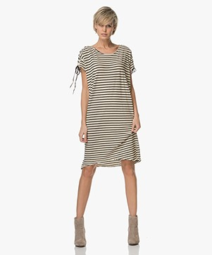 Project AJ117 Miko Striped Jersey Dress - Beige/Black