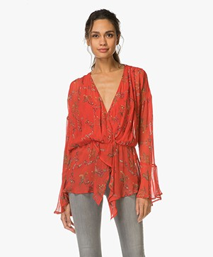 IRO Linette Ruffle Blouse with Floral Print - Red