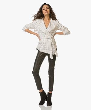 IRO Quinet Blazer with Check Design - Ecru/Black