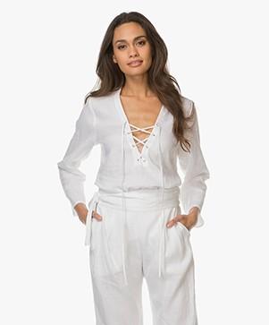 Matin Studio Lace-up Linen Blouse - White