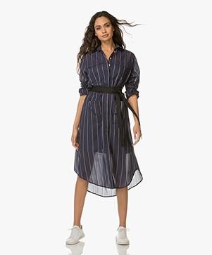 Matin Studio Long Cotton Shirt Dress - Navy Stripe