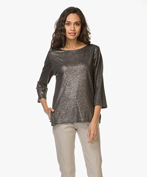 Majestic Filatures T-shirt met Glitter Finish - Metal Zwart