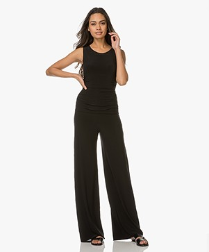 Norma Kamali Sleeveless Shirred Travel Jersey Jumpsuit - Black