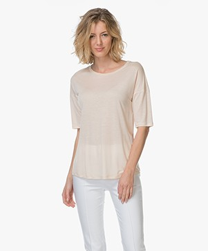 Filippa K Elbow Sleeve Swing Top - Champagne