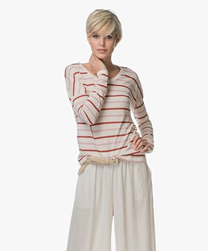Closed Striped Long Sleeve in Wool Jersey - Candy