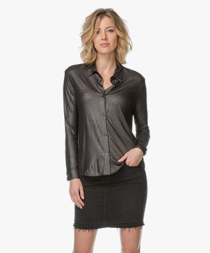 Majestic Superwashed Jersey Blouse - Metal Zwart